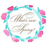 Frühlings-Kranz Blumenkranz von Tulpen blühen lokalisiert auf dem weißen Hintergrund mit Grüßen Stockfotos
