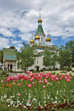 Frühlings-Landschaft der russischen Kirche Stockfoto