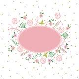 Frühlings- oder Sommerfesteinladung, Grußkartenschablone oder Plakat Naturblumenbühnenbildvektor-Illustrationsanlage Lizenzfreies Stockbild