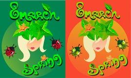 Frühlings-Postkarte am 8. März mit einem Mädchen und einem Kranz Lizenzfreies Stockfoto