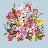 Frühlings-Retro- mit Blumenkarte in der Weinlese-Art Lizenzfreie Stockfotografie