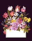 Frühlings-Retro- mit Blumenkarte in der Weinlese-Art Stockbilder