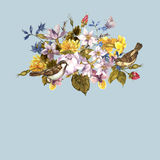 Frühlings-Retro- mit Blumenkarte mit Spatzen Stockfoto