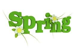 Frühlings-Text mit Blume Stockbilder