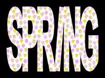 Frühlings-Text mit Küken Lizenzfreie Stockfotos