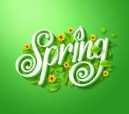 Frühlings-Typografie-Titel-Konzept in 3D mit langem Schatten Lizenzfreies Stockbild