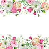 Frühlings-und Sommer-Blumenrahmen für Feiertags-Dekoration Hochzeits-Einladung, Gruß-Karten-Schablone mit blühenden Blumen stock abbildung