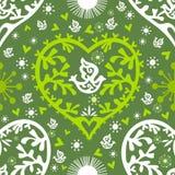 Frühlings-Valentinsgrußmuster mit Inneren und Vögeln, VE Lizenzfreie Stockbilder