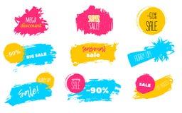 Frühlings-Verkauf befleckt, um zu beschriften, abzurechnen, bester Preis Flecken Vector gesetzte Illustration in der Schmutzart f Stockbilder