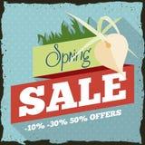 Frühlings-Verkauf mit einer Orchidee im Retro- Werbungs-Design, Vektor-Illustration Lizenzfreie Stockbilder