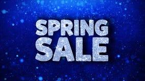 Frühlings-Verkaufs-blaue Text-Wunsch-Partikel-Grüße, Einladung, Feier-Hintergrund stock footage