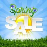 Frühlings-Verkaufs-Fahne mit Sun Lizenzfreie Stockbilder