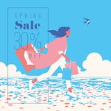 Frühlings-Verkaufs-Fahne, Verkaufs-Plakat, Verkaufs-Flieger 30 weg, Vektorillustration Lizenzfreie Stockbilder