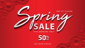Frühlings-Verkaufs-Fahnenschablone, Webseite, Fahnenentwurf, Blumenkonzept, Blumenvektor stock abbildung