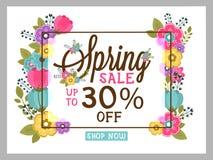 Frühlings-Verkaufs-Flieger-, Plakat- oder Fahnendesign Lizenzfreie Stockfotos