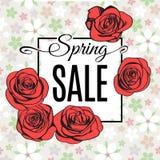 Frühlings-Verkaufsfahnenschablone mit roten Entwurfsrosen Vektor Lizenzfreie Abbildung