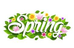 Frühlings-Wort-Papier geschnitten mit Blumen, Blättern u. Schmetterlingen stock abbildung