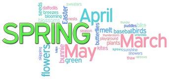 Frühlings-Wort-Wolke Stockfotografie