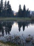 Frühlingsabendfarben Rezekne lettland lizenzfreies stockbild