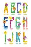 Frühlingsalphabet bezeichnet A - L mit Buchstaben Stockfotografie