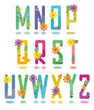 Frühlingsalphabet bezeichnet M - Z mit Buchstaben Stockfoto
