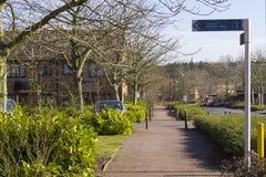 Frühlingsansicht bei zwei Meilen-Aschbereich in Milton Keynes, England Lizenzfreie Stockfotos