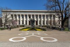 Frühlingsansicht von Nationalbibliothek-St. Cyril und von St. Methodius in Sofia, Bulgarien Lizenzfreies Stockfoto