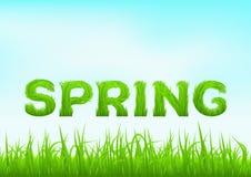 Frühlingsaufschrift gemacht vom Gras Frühlingshintergrund mit grünem Vorfrühlingsgras auf unscharfem weichem Hintergrund Stockfoto