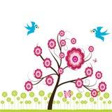 Frühlingsbaum u. -vögel. Stockfotografie