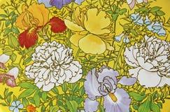 Frühlingsblumen auf gelben Tin Background lizenzfreie abbildung