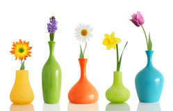 Frühlingsblumen in den Vasen stockfoto