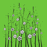 Frühlingsblumen mit grünem Hintergrund Stockbilder