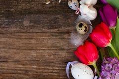 Frühlingsblumen mit Ostereiern lizenzfreies stockbild