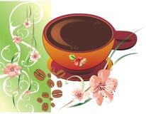 Frühlingsblumen und -kaffee Stockfoto
