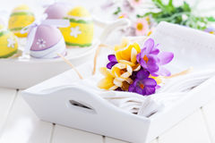 Frühlingsblumen und Ostereier Lizenzfreie Stockfotografie