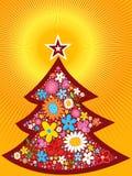 Frühlingsblumen-Weihnachtsbaum lizenzfreie abbildung