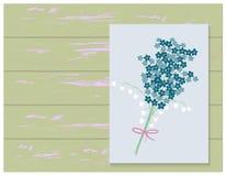 Frühlingsblumenstrauß auf hölzernem Hintergrund Abbildung Lizenzfreie Stockfotos