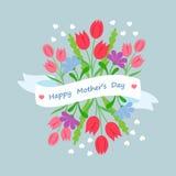 Frühlingsblumenstrauß mit Band und Glückwunsch in der flachen Art Konzeptdesign-Schablonen-Grußkarte Mutter-Tag Lizenzfreie Stockbilder