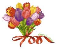 Frühlingsblumenstrauß von Tulpen stock abbildung