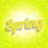 Frühlingsdreieckmuster mit Wort und bokeh Stockfotografie