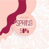 Frühlingsfahnen Verkaufs-Sonderangebotschablone mit Gekritzelrosablumen und -blättern Kreative editable allgemeinhinkarte herein stock abbildung