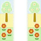 Frühlingsfeld mit Blumen auf Textilhintergrund Stockfotografie