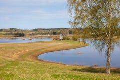 Frühlingsflut des Flusses Stockbilder