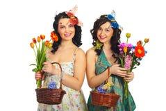 Frühlingsfrauen mit kreativem bilden und Frisur Lizenzfreies Stockfoto