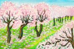 Frühlingsgarten, malend Lizenzfreies Stockbild