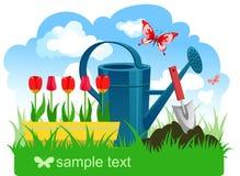 Frühlingsgartenarbeit Stockbild