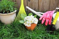 Frühlingsgartenarbeitwerkzeuge lizenzfreie stockbilder