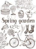 Frühlingsgartenkarte Stockfoto