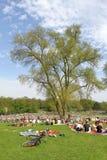 Frühlingsgefühle - junge Leute, die im Park kühlen Stockbilder