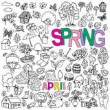 Frühlingsgekritzel eingestellt Stockfoto